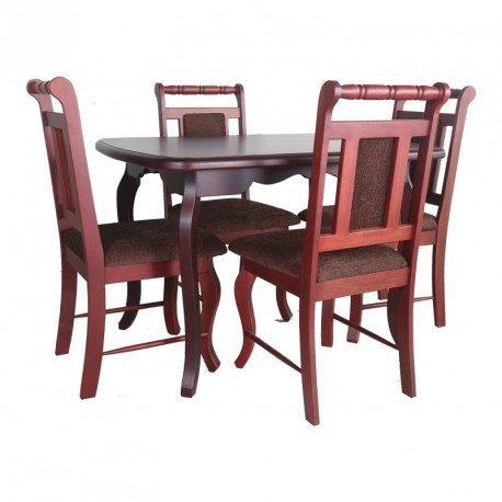 Oval Table and 4 Chairs Spindle Back Purple Heart