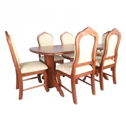 Oval Table and 6 Chairs Locust High Back