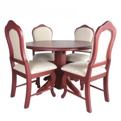 Round Table and 4 Chairs High Back Purple Heart (5pcs)