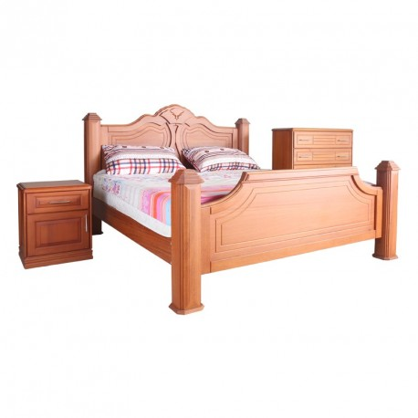 Toshao King Size (Bed Side Cupboard) and Chester Draw, Natural Finish Locust
